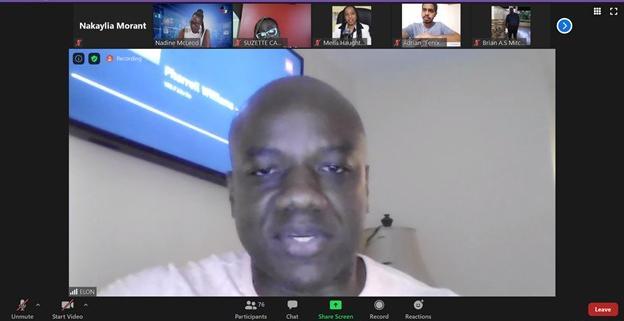 Elon Parkinson, Head of Public Relations at Digicel Jamaica speaks during the 'Crisis Communication' webinar on September 15, 2020